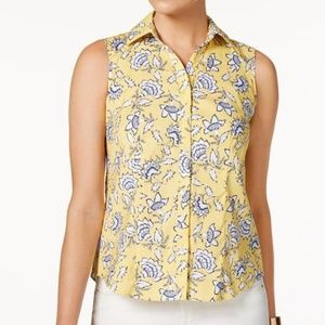 Charter Club Sleeveless Printed Shirt Tailored Fit